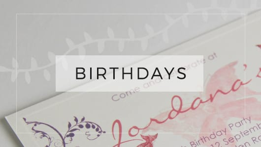 Birthdays ~ Events ~ Little Works Designer Wedding and Event Stationery
