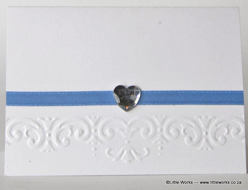 P006 - Blue Ribbon and Diamante Heart