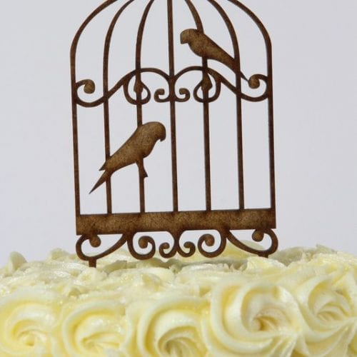 CT17 - Bird Cage with Birds Cake Topper