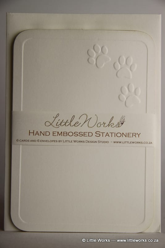 EMBNOT10 - Embossed Notelets - Paw Prints - Pack of 6 with matching Envelopes