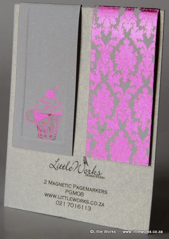 PGM08 - Two Magnetic Page Markers - Damask Pattern & Cupcake