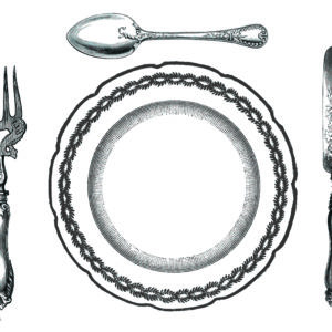 PM14 - A Pack of 12 Cutlery and Plate Place Mats