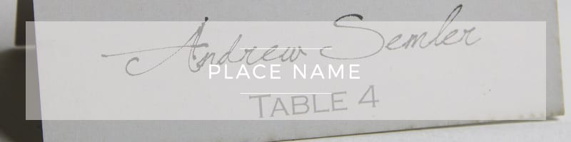 Wedding Stationery ~ Place Name