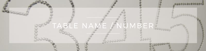 Wedding Stationery ~ Table Name & Number