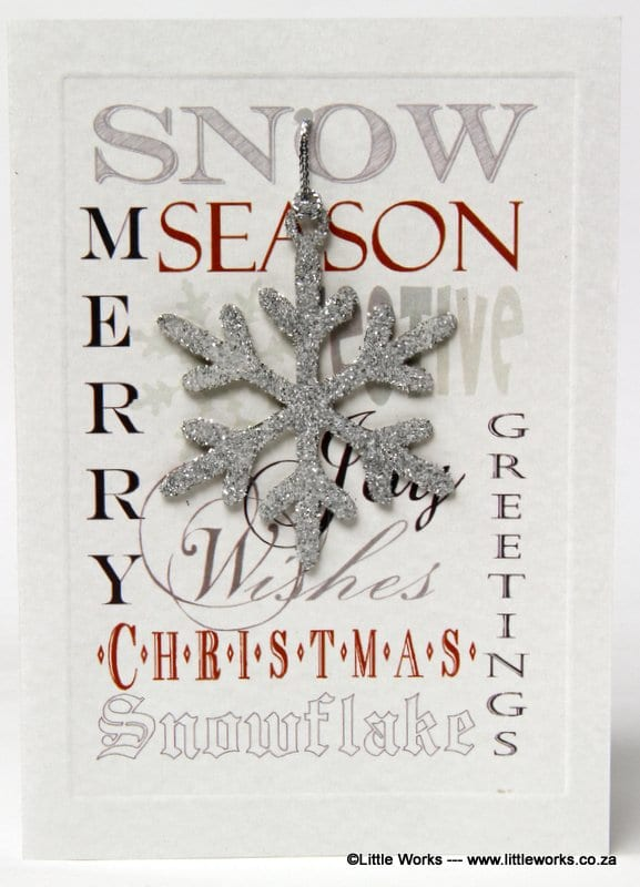 XDFR - Merry Christmas, Season Greetings - Silver Snow Flake - Removable Decoration