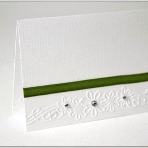 P004 - Green Ribbon and Diamante Flowers