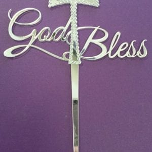 CT20 - God Bless Cake Topper