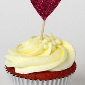 CTH3 - Glitter heart cupcake topper - various colours