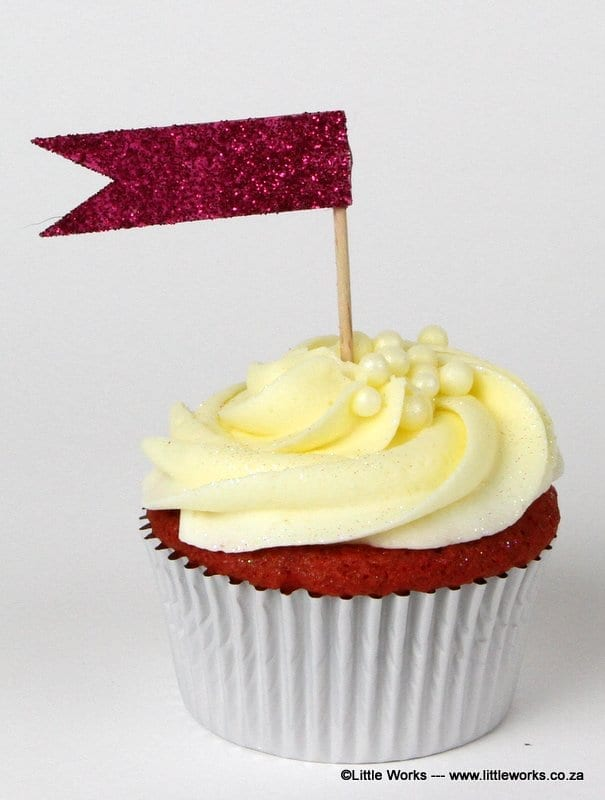 CTH4 - Glitter flag cupcake topper - various colours