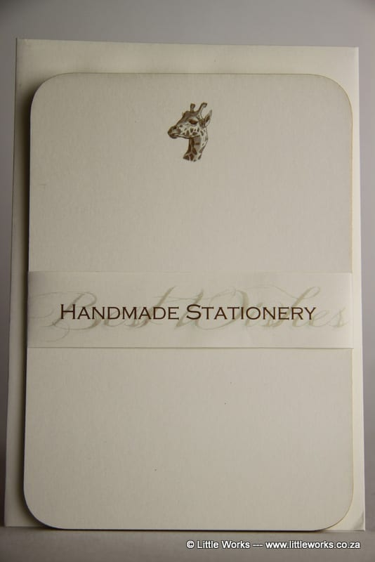 NOT14 - Handmade Notelets - Giraffe - Pack of 6 with matching Envelopes