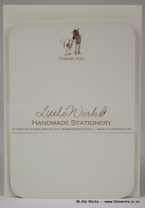 NOT17 - Handmade Notelets - Thank You Elephant & Zebra - Pack of 6 with matching Envelopes