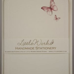 NOT20 - Handmade Notelets - Pink Butterflies - Pack of 6 with matching Envelopes