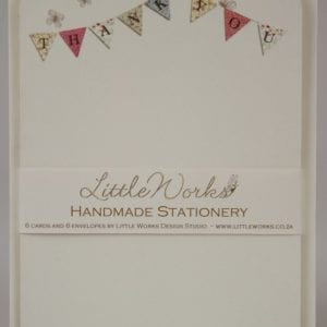 NOT22 - Handmade Notelets - Thank You Bunting - Pack of 6 with matching Envelopes
