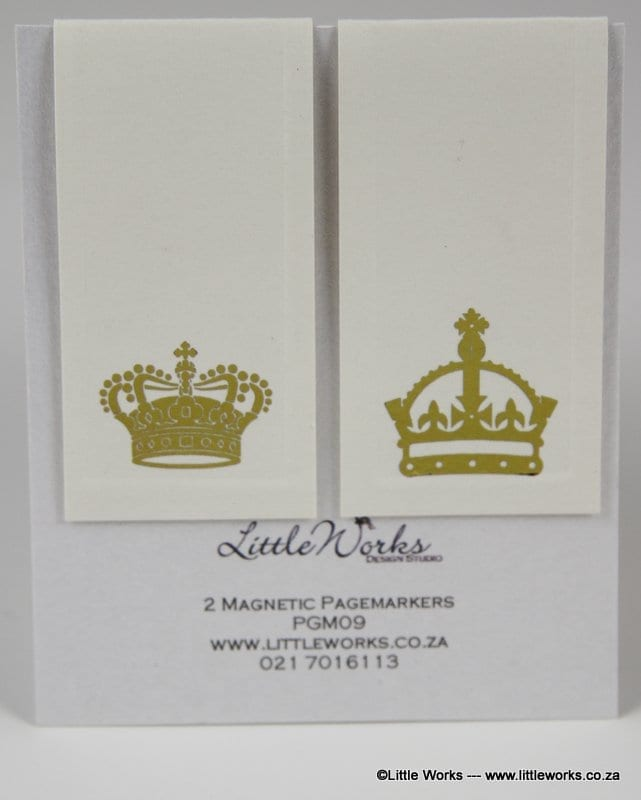 PGM09- Two Magnetic Page Markers - Gold Crowns