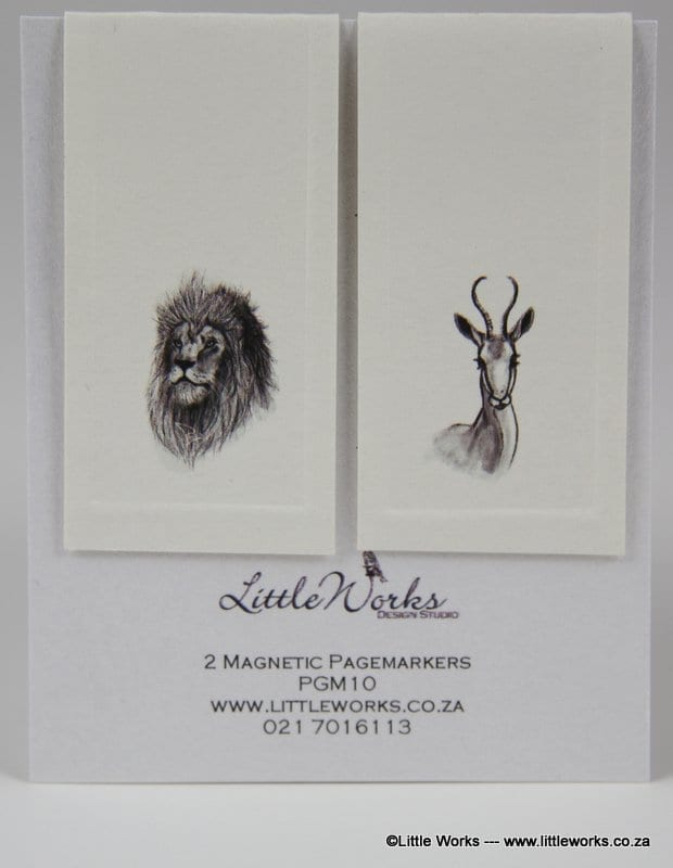 PGM10- Two Magnetic Page Markers - Lion & Springbok