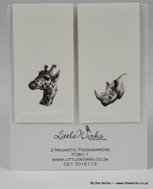 PGM11- Two Magnetic Page Markers - Giraffe & Rhino