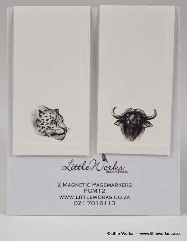 PGM12- Two Magnetic Page Markers - Leopard & Buffalo