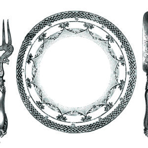 PM13 - A Pack of 12 Cutlery and Plate Place Mats