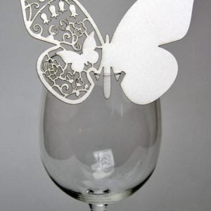 PNGB-001 Laser Cut Butterfly Glass Place Name - Pack of 6 - Colours, white, cream, grey, black or white gold