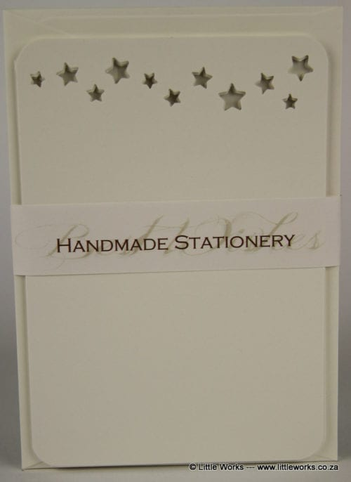 NOT4 - Handmade Notelets - Stars Cut Out - Pack of 6 with matching Envelopes
