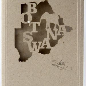 LCBSED - Botswana Map with Elephant - Desert Storm